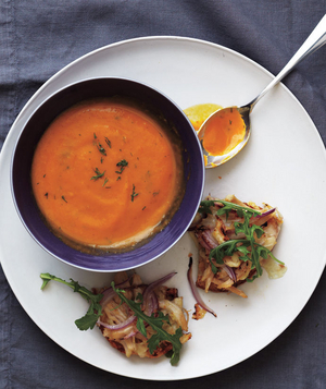 Roasted Vegetable Soup With Chicken Melts