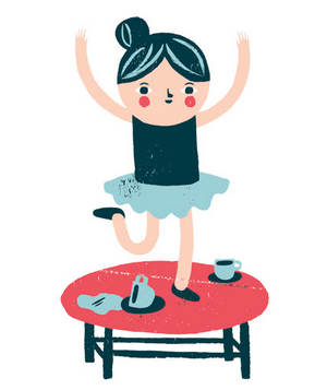 Illustration of a girl in a tutu dancing on a table