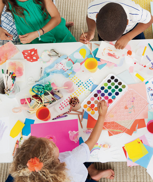 Children drawing and making cards