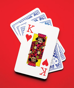 Stack of cards with the king of hearts on top