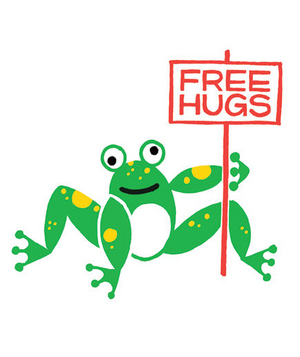 Illustration of a frog holding a free hugs sign