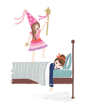 Illustration of a princess jumping on her mom's bed