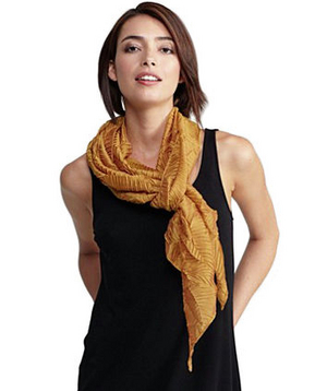 Eileen Fisher Pressed Leaf Pleated Scarf in Cross-Dyed Whisper Silk