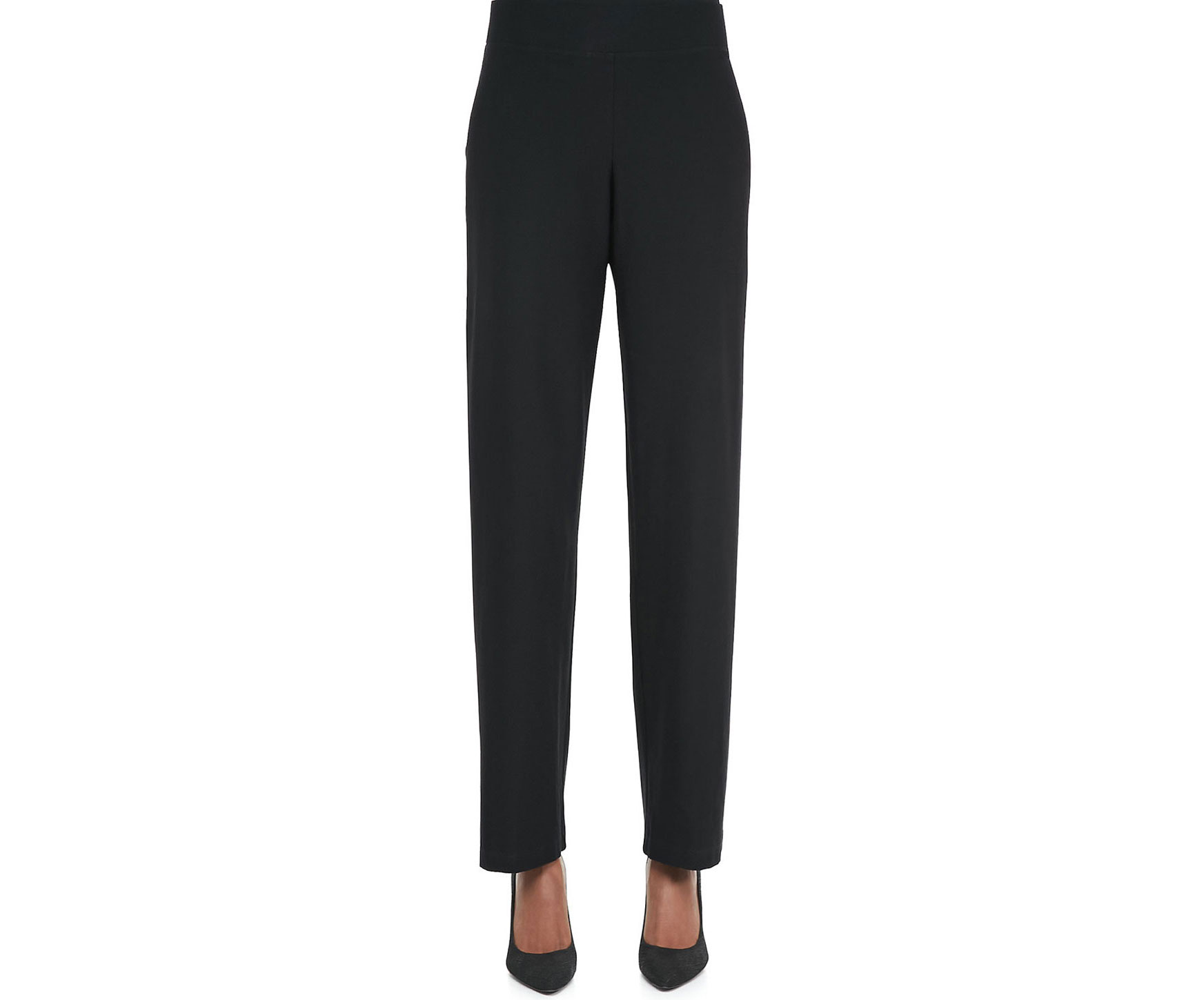 Eileen Fisher black crepe straight-leg pants