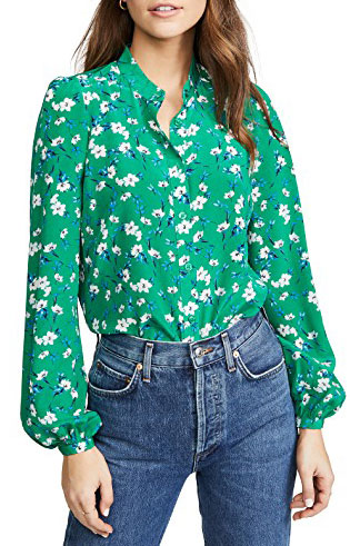 Yumi Kim green and white floral printed shirt
