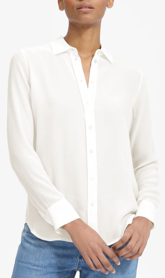 Everlane white button-up silk shirt