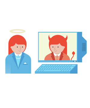 Illustration of an angel, devil, and computer