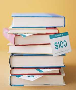 Stack of books with coupon