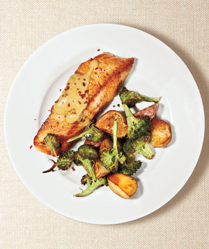 Roasted Salmon, Broccoli, and Potatoes With Miso Sauce