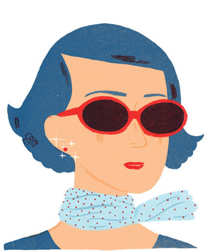 Illustration of a woman in sunglasses and a scarf
