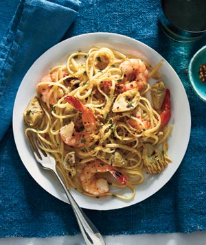 Quick Dinner Ideas: Linguine With Shrimp, Artichokes, and Crispy Bread Crumbs