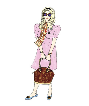 Illustration of a woman wearing designer clothing