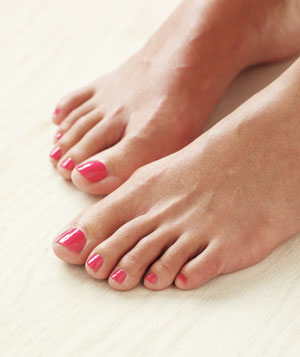 Feet with pedicure