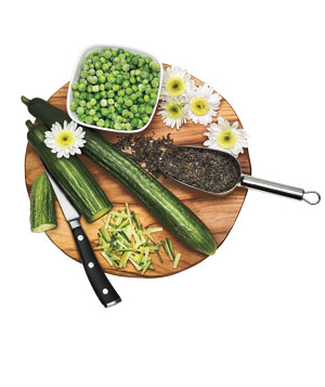 Cucumber, frozen peas, loose tea leaves and daisies