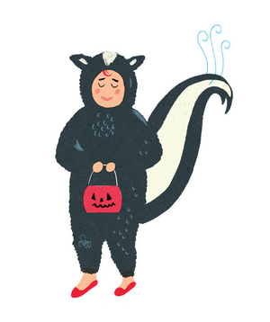 Illustration of a kid in a skunk costume