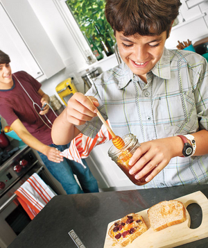 Amy Gray's sons in kitchen