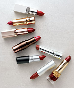 Various shades of red lipstick