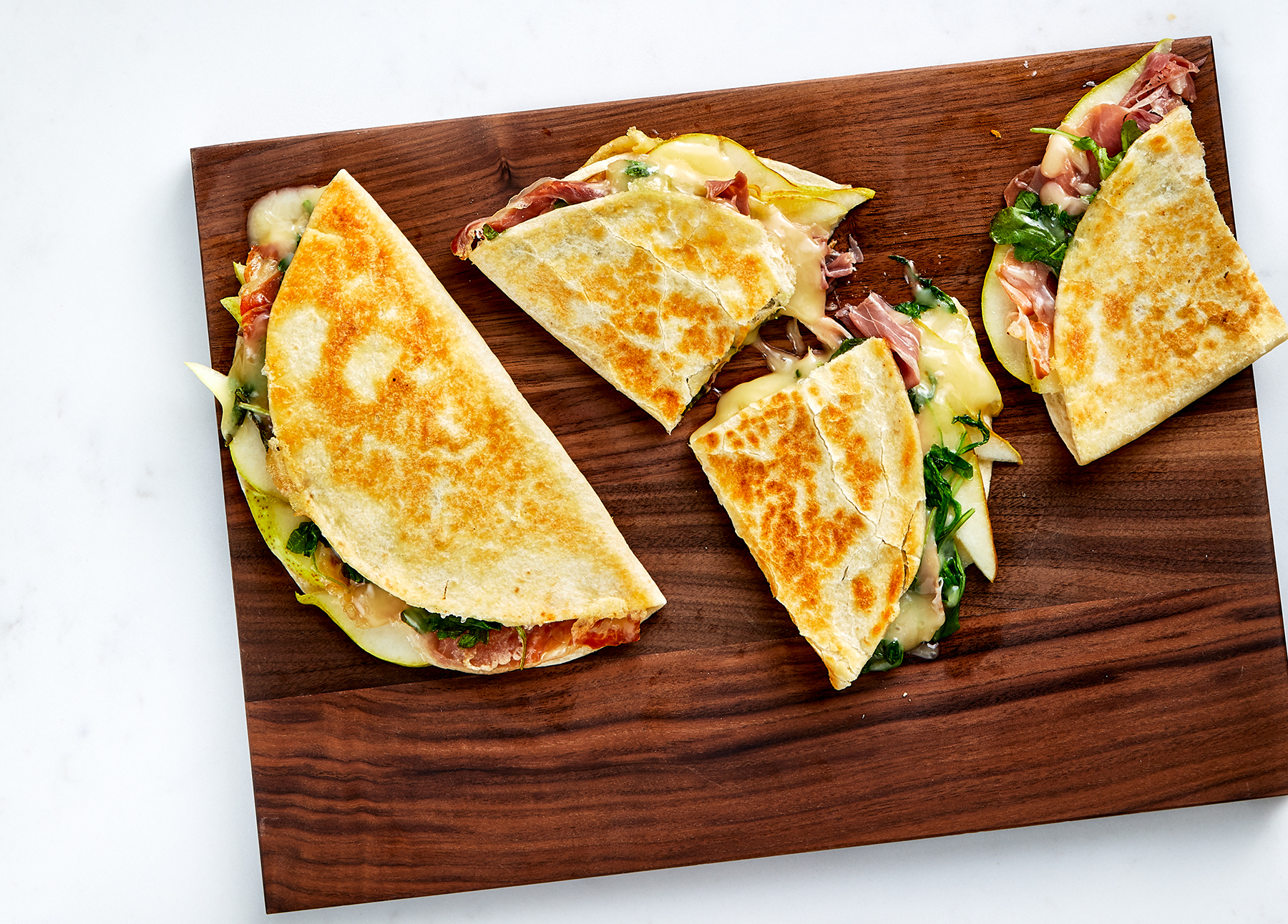 Pear, Prosciutto, and Fontina Quesadillas