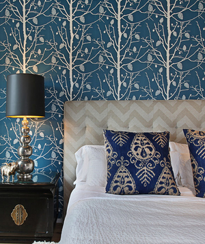 Blue tree patterned wallpaper