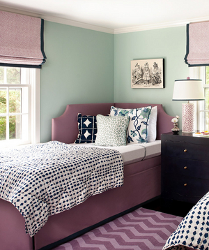 Mint green and burgundy decorated room