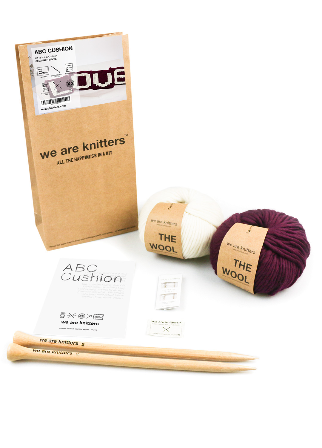ABC cushion knitting kit we are knitters