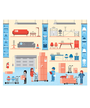 Illustration of a furniture warehouse