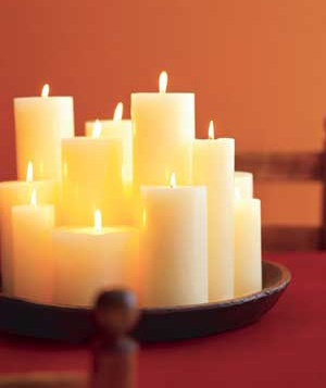 A centerpiece made of pillar candles