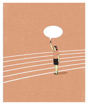Illustration of a woman with a gun and an empty speech bubble