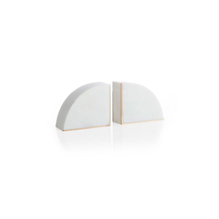 white marble bookends