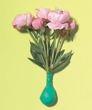 Cut flowers with stems in a balloon