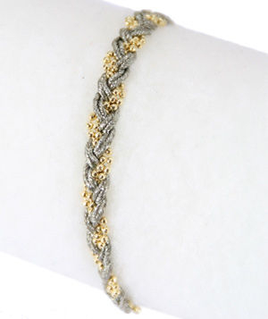 Sogoli chenille bracelet with beading and gold-plated brass