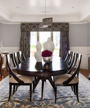 Bold patterned dining room