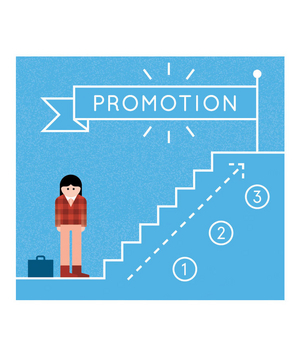 Illustration of stairs to a promotion flag