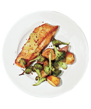 Roasted Salmon, Broccoli, and Potatoes With Miso Sauce silhouette
