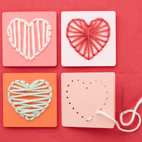Valentine's Day crafts for kids: How to Make Heart-Sewn Valentines