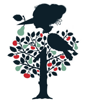 Illustration of a bird in an apple and pear tree