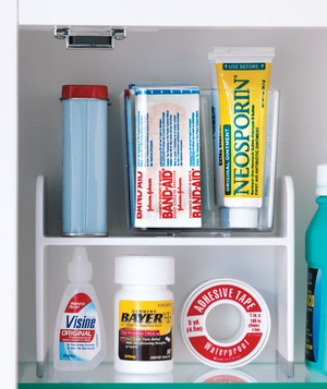Clear boxes to organize first aid essentials
