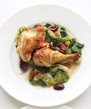 Braised Chicken With Escarole, Tomatoes, and Olives