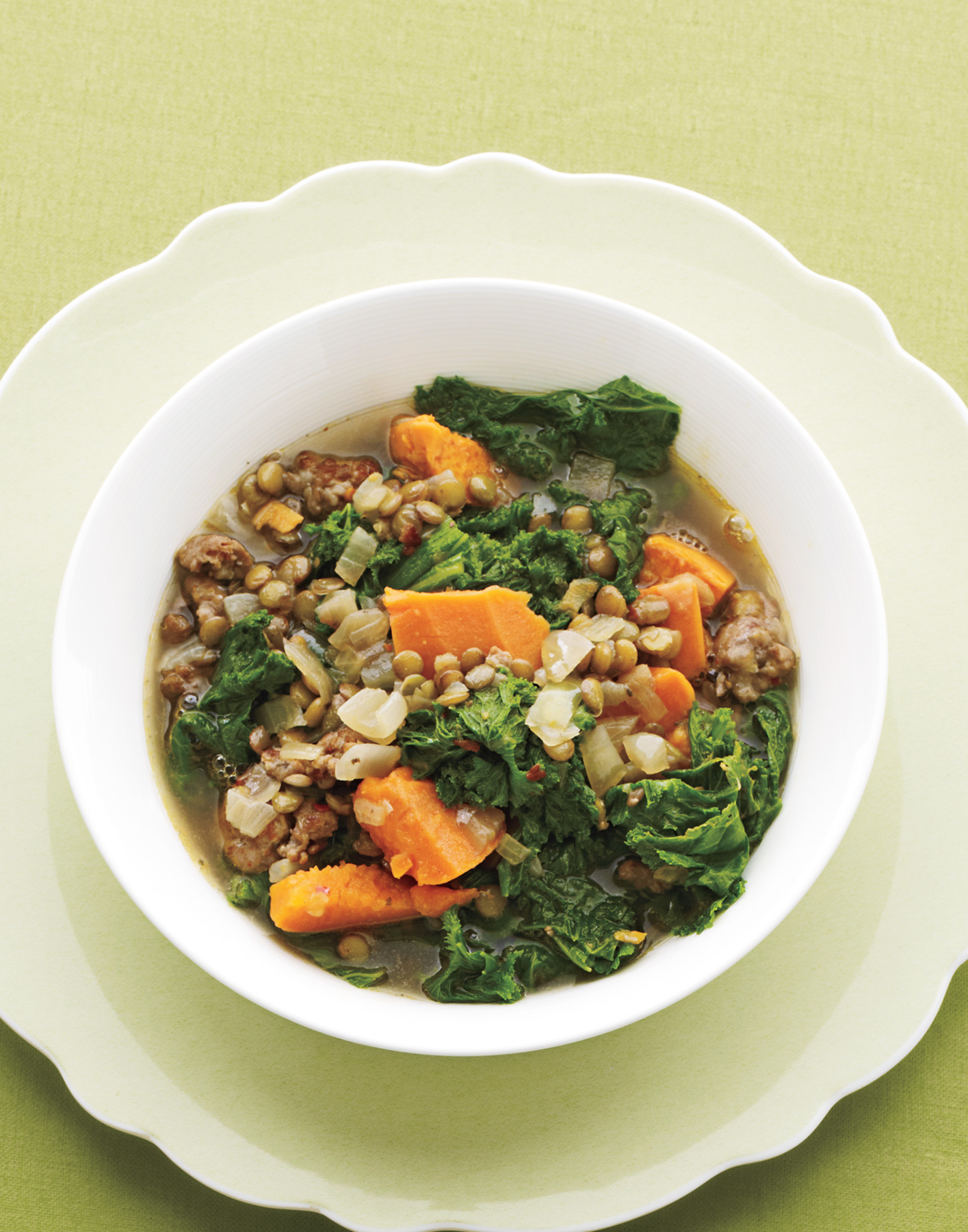 Lentil Stew With Mustard Greens and Sausage