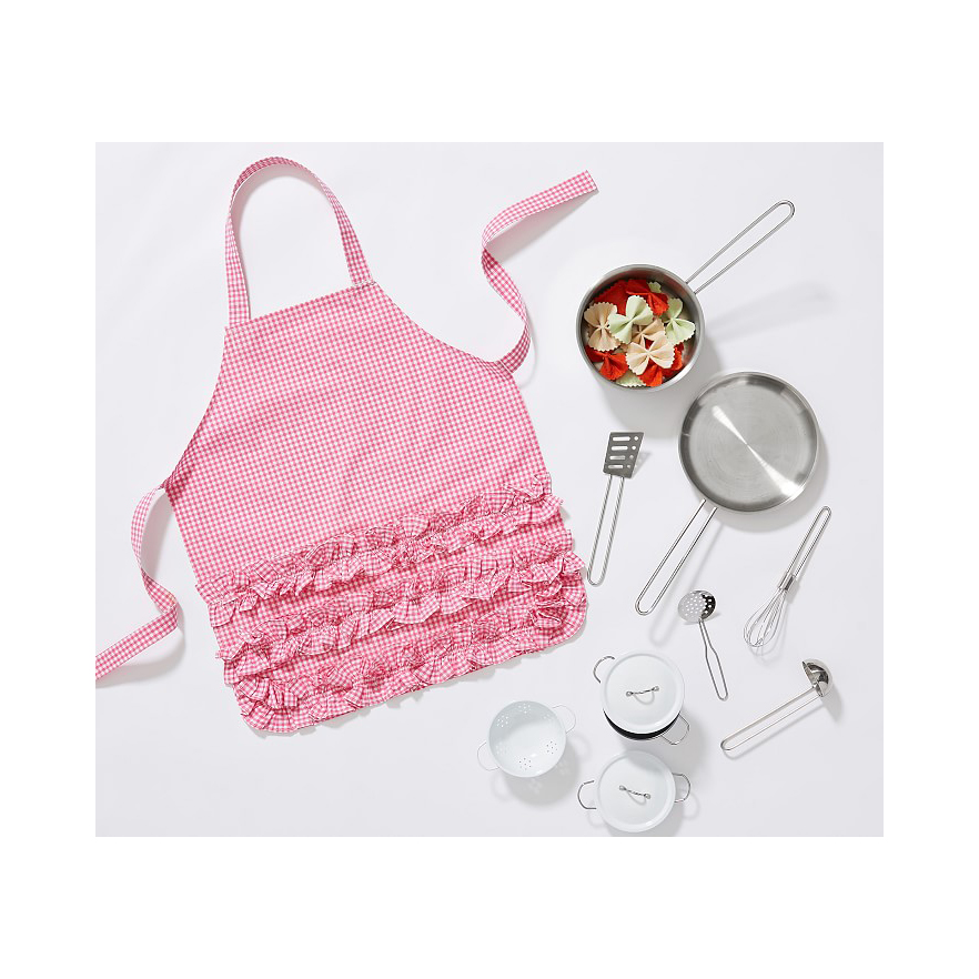 Cute Valentine's Day gifts for kids - Pink Ruffle Gingham Apron
