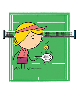 Illustration of a woman playing tennis alone