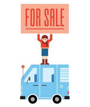 Illustration of girl holding for sale sign on top of car