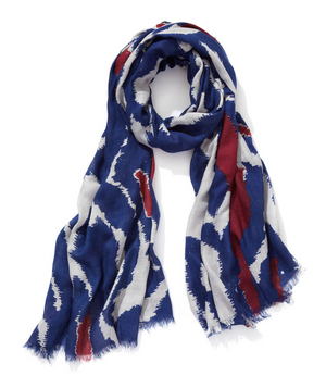Blue and red ikat scarf