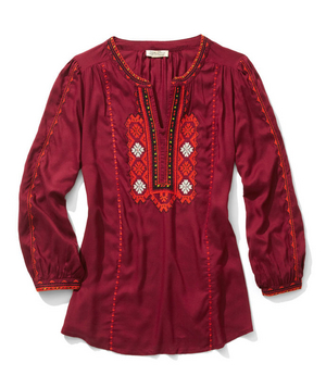 Lucky Brand rayon-and-polyester embroidered top
