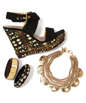 Faux-suede wedges, wood bangles, and gold-plated necklace