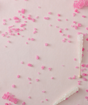Pink-themed bridal shower, rock candy