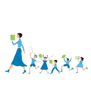 Illustration of a teacher and students reading while walking in line