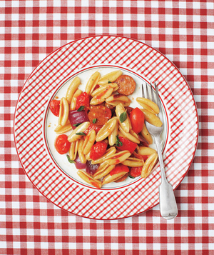 Cavatelli With Andouille, Peppers, and Tomatoes