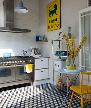 Yellow and turquoise accented kitchen