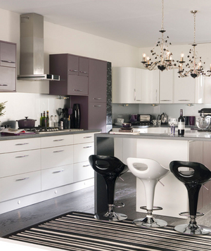 Modern aubergine, white, and black kitchen